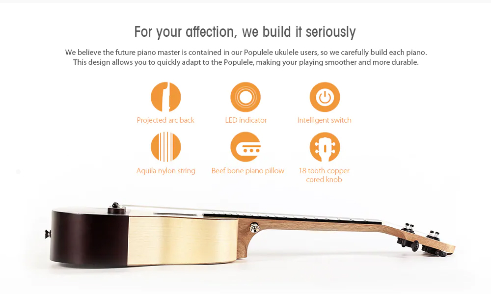 Populele Smart Ukulele for Beginning Learners' User-friendly Intelligent APP Teaching Piano LED Bluetooth Connection Ukulele 4