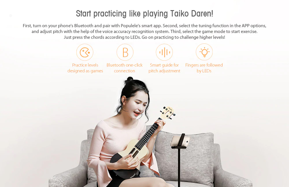 Populele Smart Ukulele for Beginning Learners' User-friendly Intelligent APP Teaching Piano LED Bluetooth Connection Ukulele 2