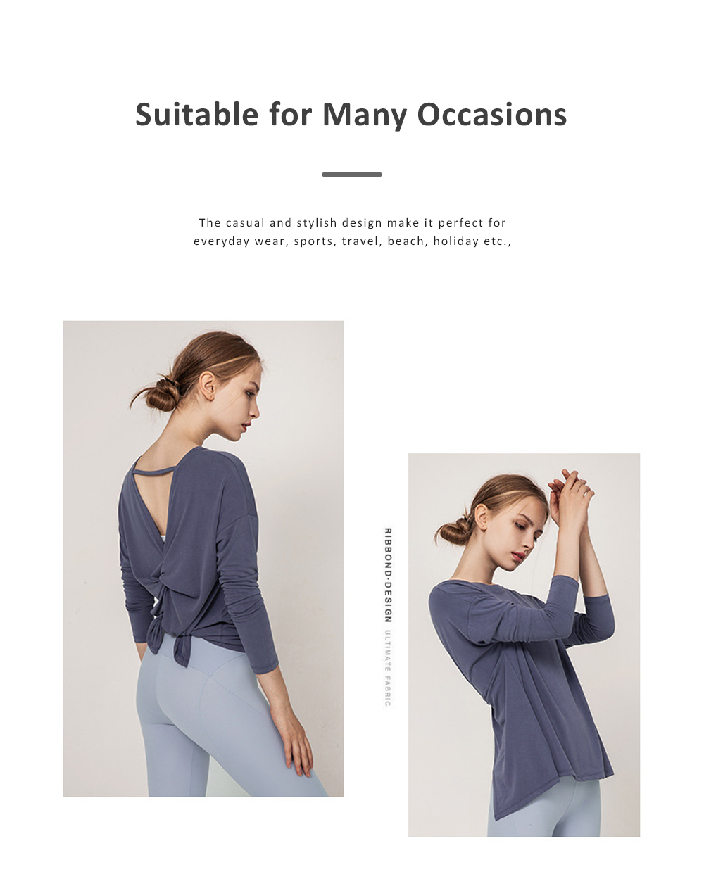 Yoga Tops Workout Shirts for Women with Sexy Backless and Long Sleeves Casual Loose Yoga Shirts Blouses 5