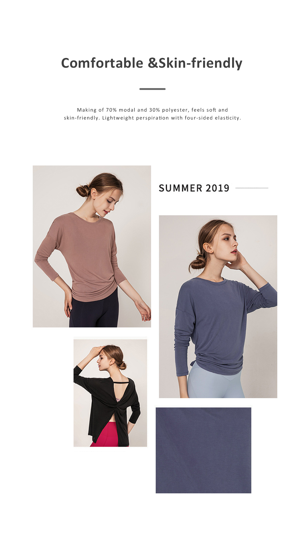 Yoga Tops Workout Shirts for Women with Sexy Backless and Long Sleeves Casual Loose Yoga Shirts Blouses 1