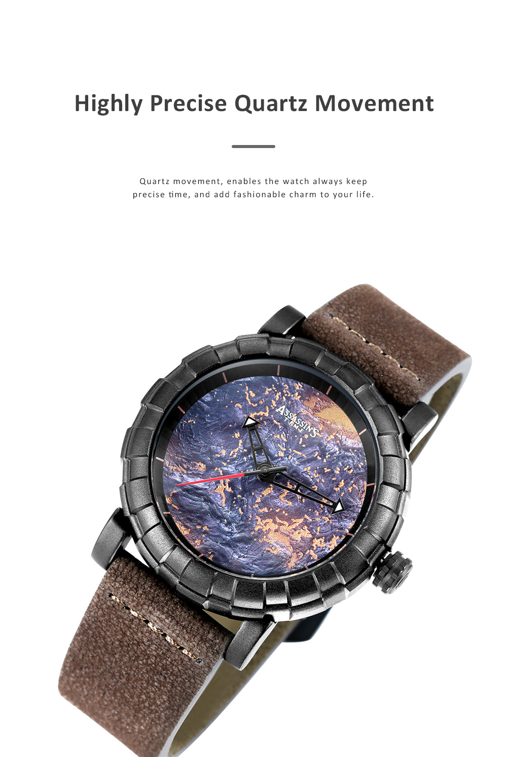 Burning Fire Creative Waterproof Electronic Watch for Men Casual with Quartz Movement and Adjustable Leather Strap 2