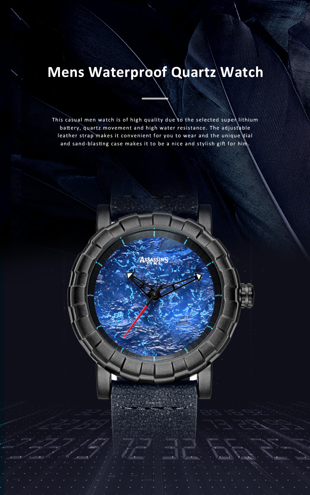 Burning Fire Creative Waterproof Electronic Watch for Men Casual with Quartz Movement and Adjustable Leather Strap 0
