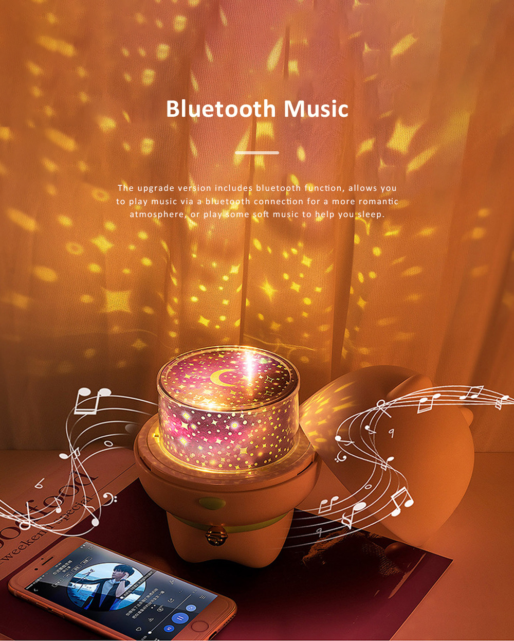 USB Rechargeable Romantic Pet Bluetooth Projection Lamp Rotation Night Lamp Speaker Box With Remote Control 2