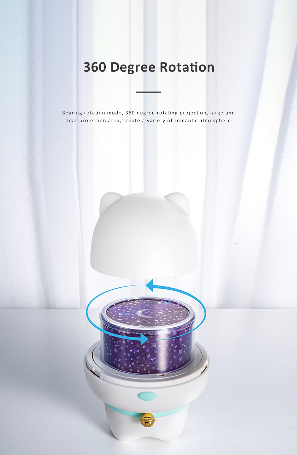 USB Rechargeable Romantic Pet Bluetooth Projection Lamp Rotation Night Lamp Speaker Box With Remote Control 1