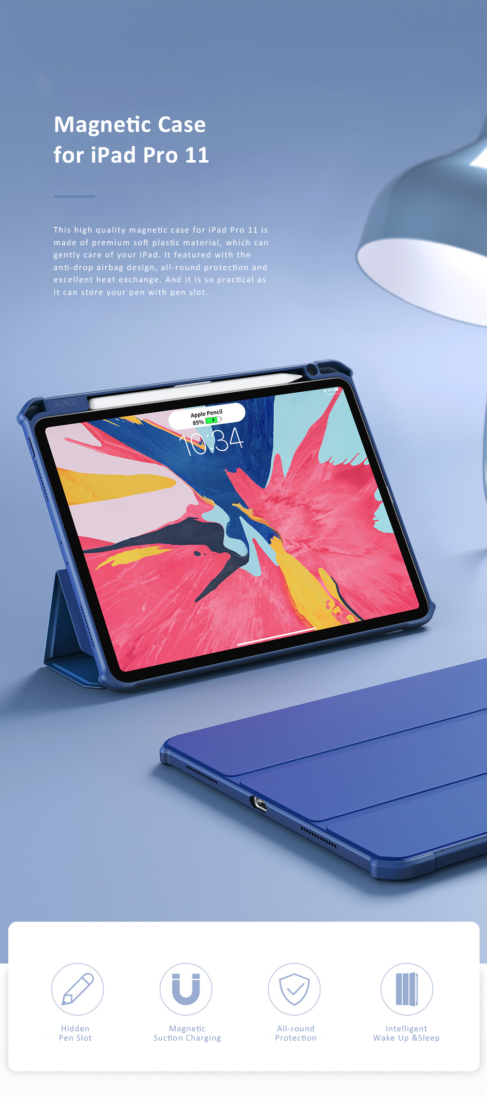 Magnetic Flip Protective Case for 2018 iPad Pro 11 Smart Stand Cover with Pencil Holder Support Auto Wake Sleep Function 0