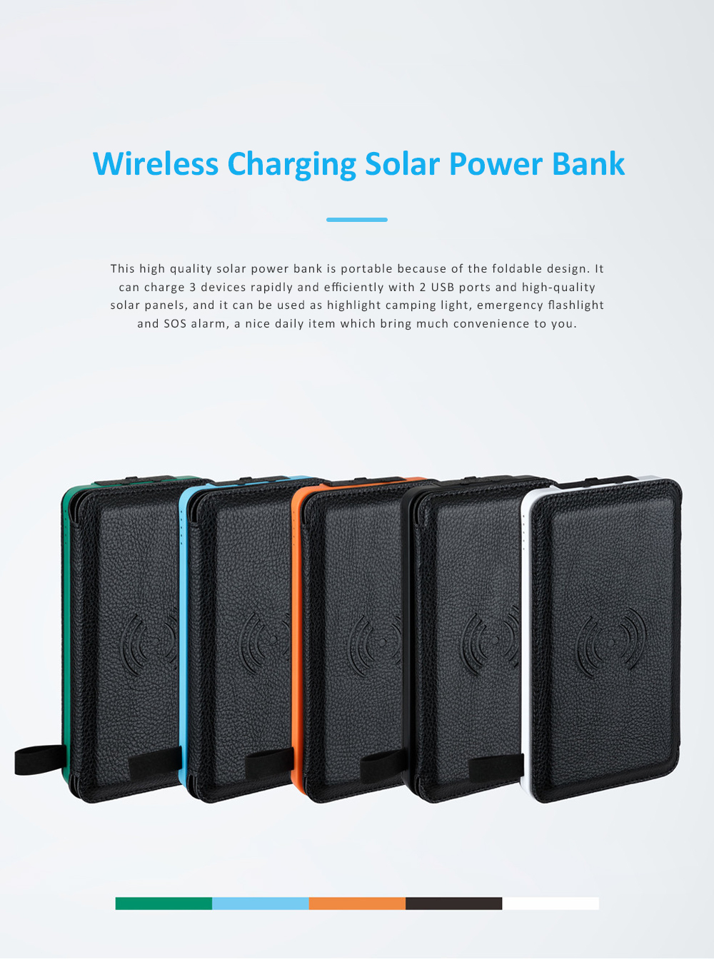 Wireless Charging Solar Charger Foldable Double USB Port Solar Power Bank with Flashlight and Compatible with Many Electronic Devices 0