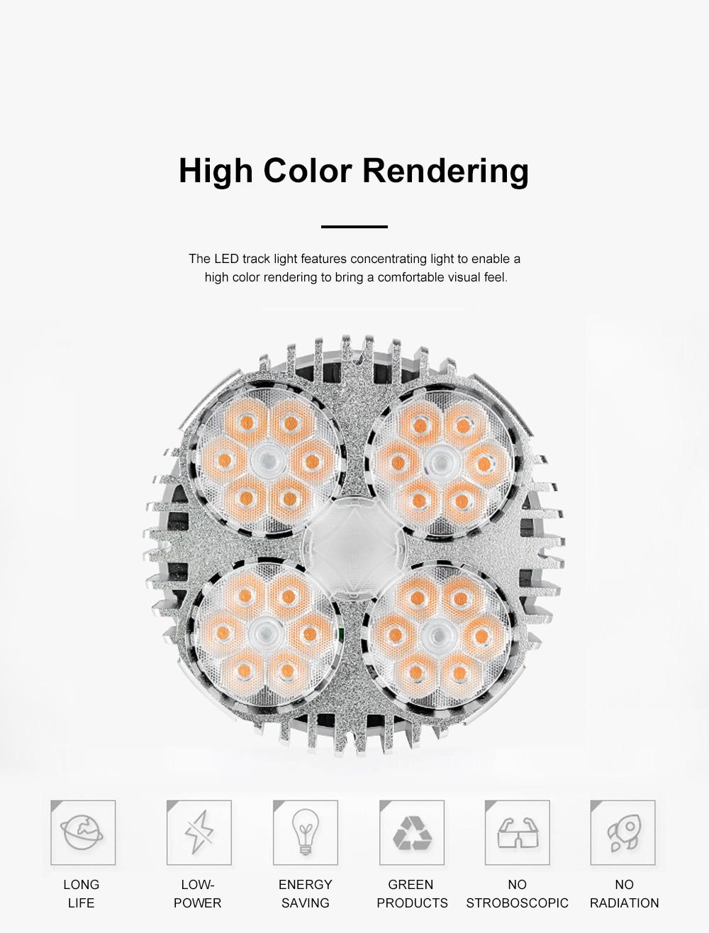 PAR30 Ultra-bright LED Track Lighting for Clothing Store Art Gallery Warm Light LED Track Lamp Free Rotation Lazy Arm Tracking Spotlight 4