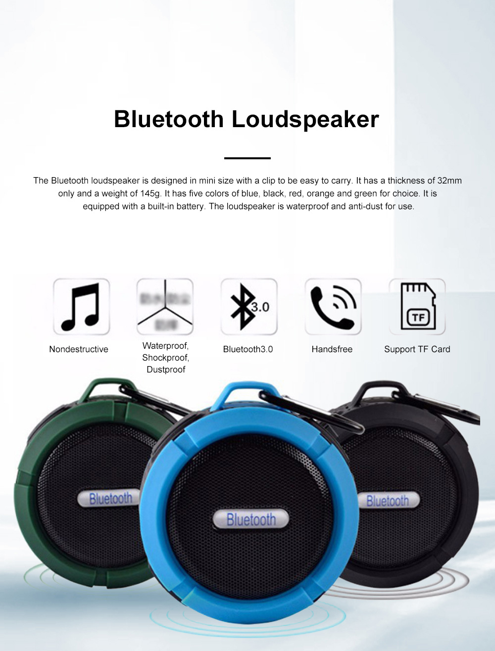 Waterproof Bluetooth Loudspeaker for Outdoors Travelling Hiking Portable Outdoor Mini Speaker Box Anti-dust Baffle Box With Suction Cup & Hook 0