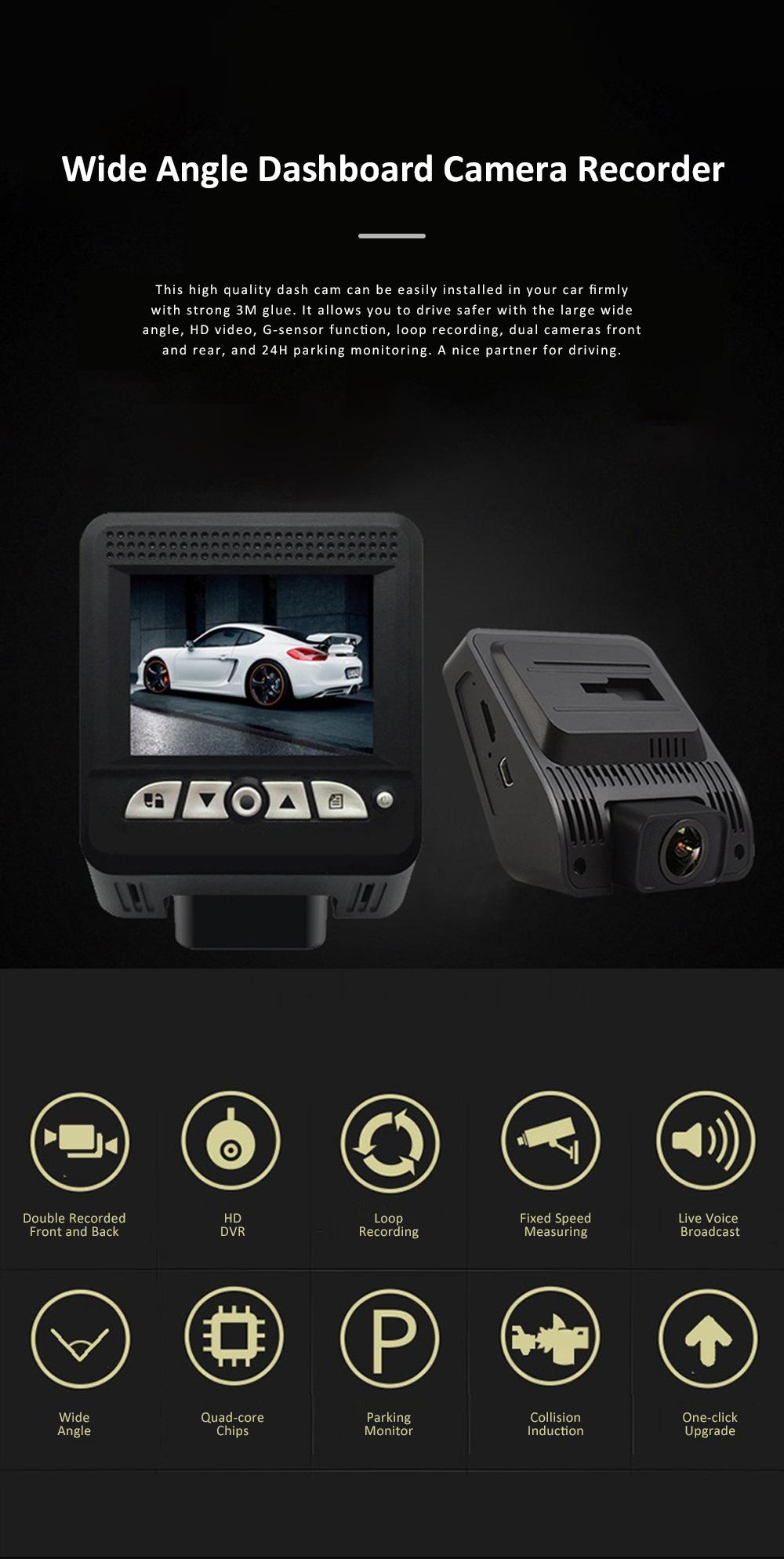 Wide Angle Car Dash Cam Full HD 1080P Dash Camera with G-Sensor Parking Monitor 24H Loop Recording Dual Dash Camera Front and Rear 0