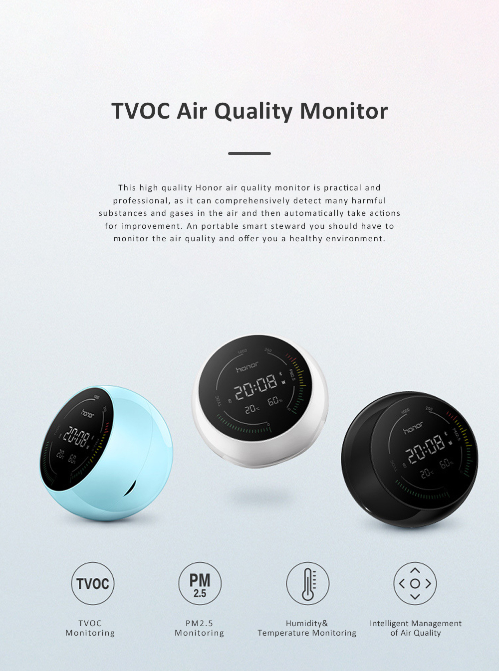 Huawei HONOR TVOC Air Quality Monitor Temperature Humidity PM2.5 Detector for Indoor Real Time Air Pollution Detection 0
