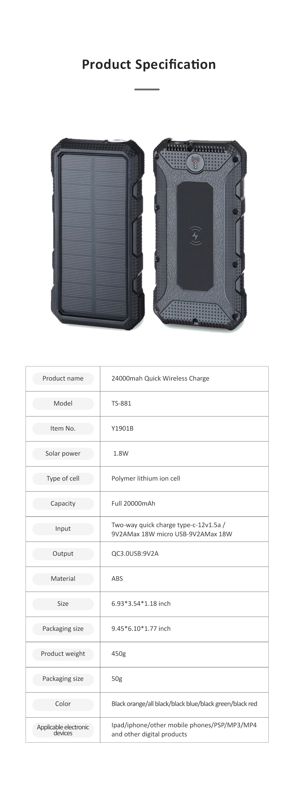 24000mAh Portable Solar Charger Two-way Type-C Power Bank with Flashlight and Metal Hook for Mobile Phone iPad MP3 MP4 6