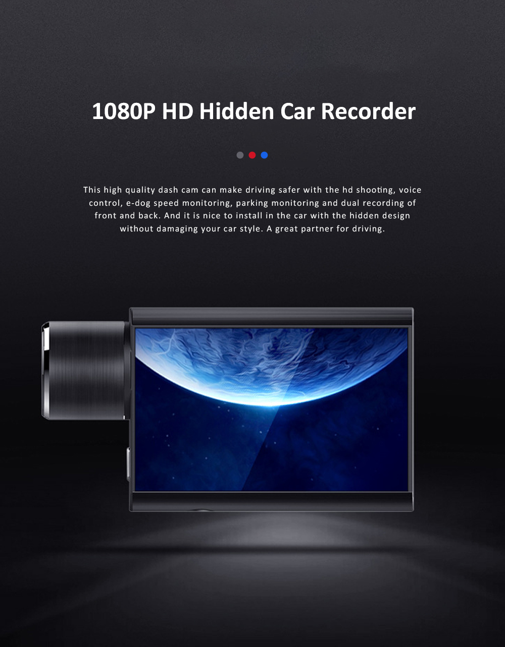 Hidden Car Recorder 1080P HD Dash Cam with Superior Night Model Wide Angle Voice Control G-Sensor Parking Monitor 0
