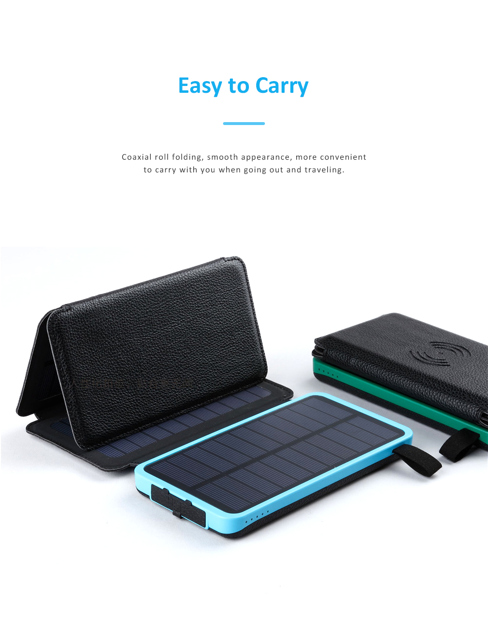 Wireless Charging Solar Charger Foldable Double USB Port Solar Power Bank with Flashlight and Compatible with Many Electronic Devices 3