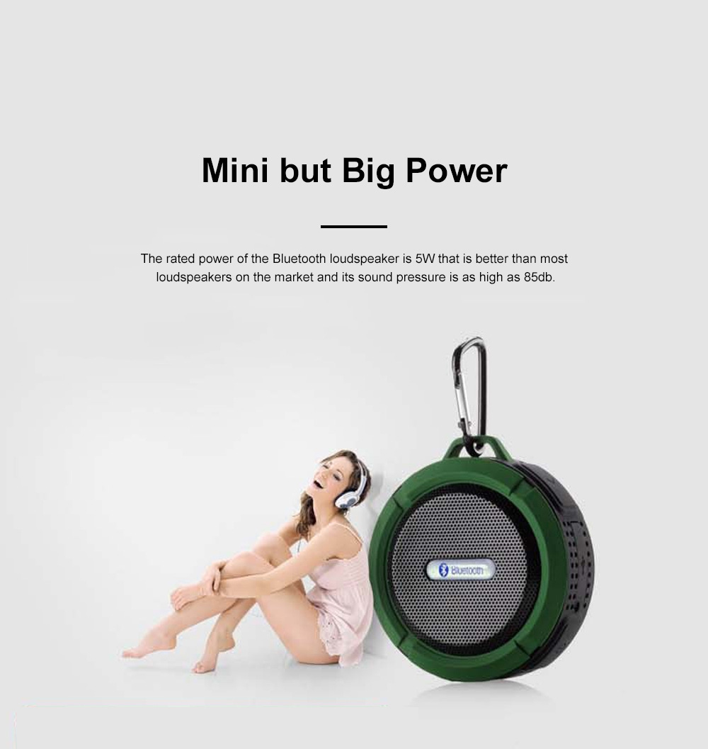 Waterproof Bluetooth Loudspeaker for Outdoors Travelling Hiking Portable Outdoor Mini Speaker Box Anti-dust Baffle Box With Suction Cup & Hook 4