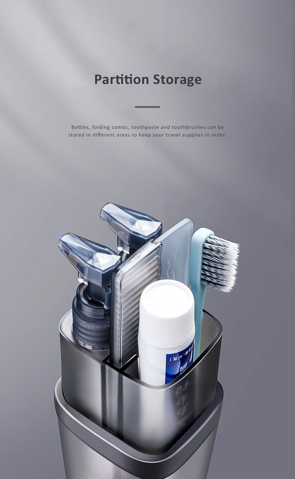 Etravel Travel Toiletries Storage Cup Portable Toothbrush Cup 8 in 1 Bathroom Accessories Storage Cup Gray Purple 4