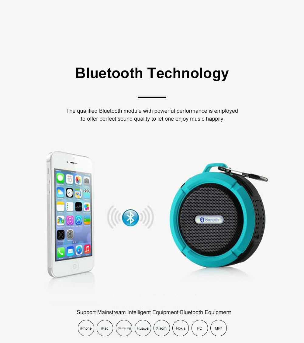 Waterproof Bluetooth Loudspeaker for Outdoors Travelling Hiking Portable Outdoor Mini Speaker Box Anti-dust Baffle Box With Suction Cup & Hook 5