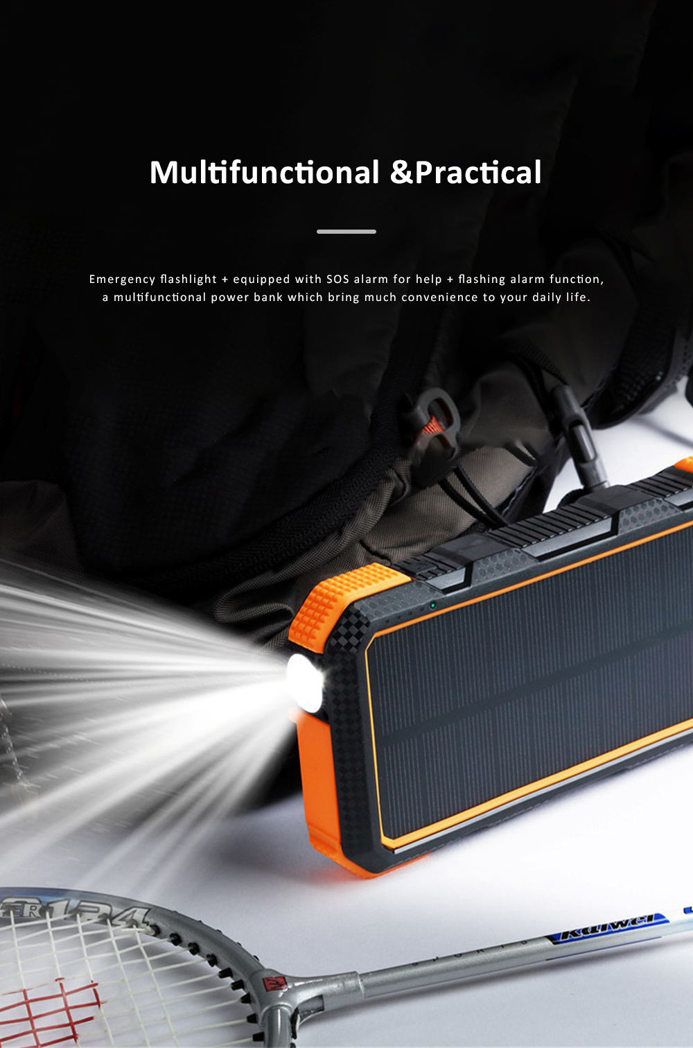 24000mAh Portable Solar Charger Two-way Type-C Power Bank with Flashlight and Metal Hook for Mobile Phone iPad MP3 MP4 3