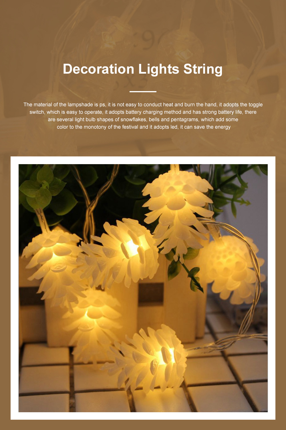 Led Snowflake Bell Christmas Lights Wedding Holiday Home Ceiling Window Door Tree Decoration Led Lights String 0