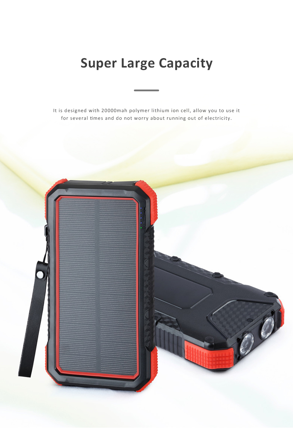 Solar Power Bank Chargers 20000mAh Portable Solar Power Bank Phone Charger with Two Type-C Port and Handle String 1