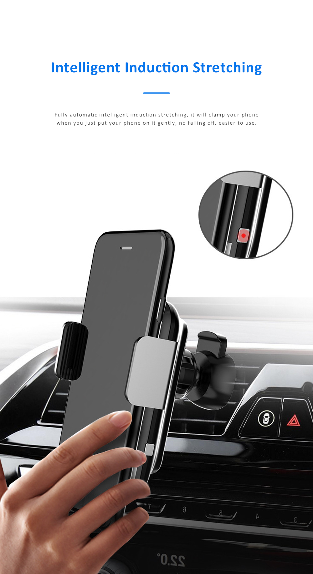 Auto-Clamping Car Air Vent Support Dashboard Car Phone Holder Gravity Sensor Car Phone Mount with 360°Rotated 1
