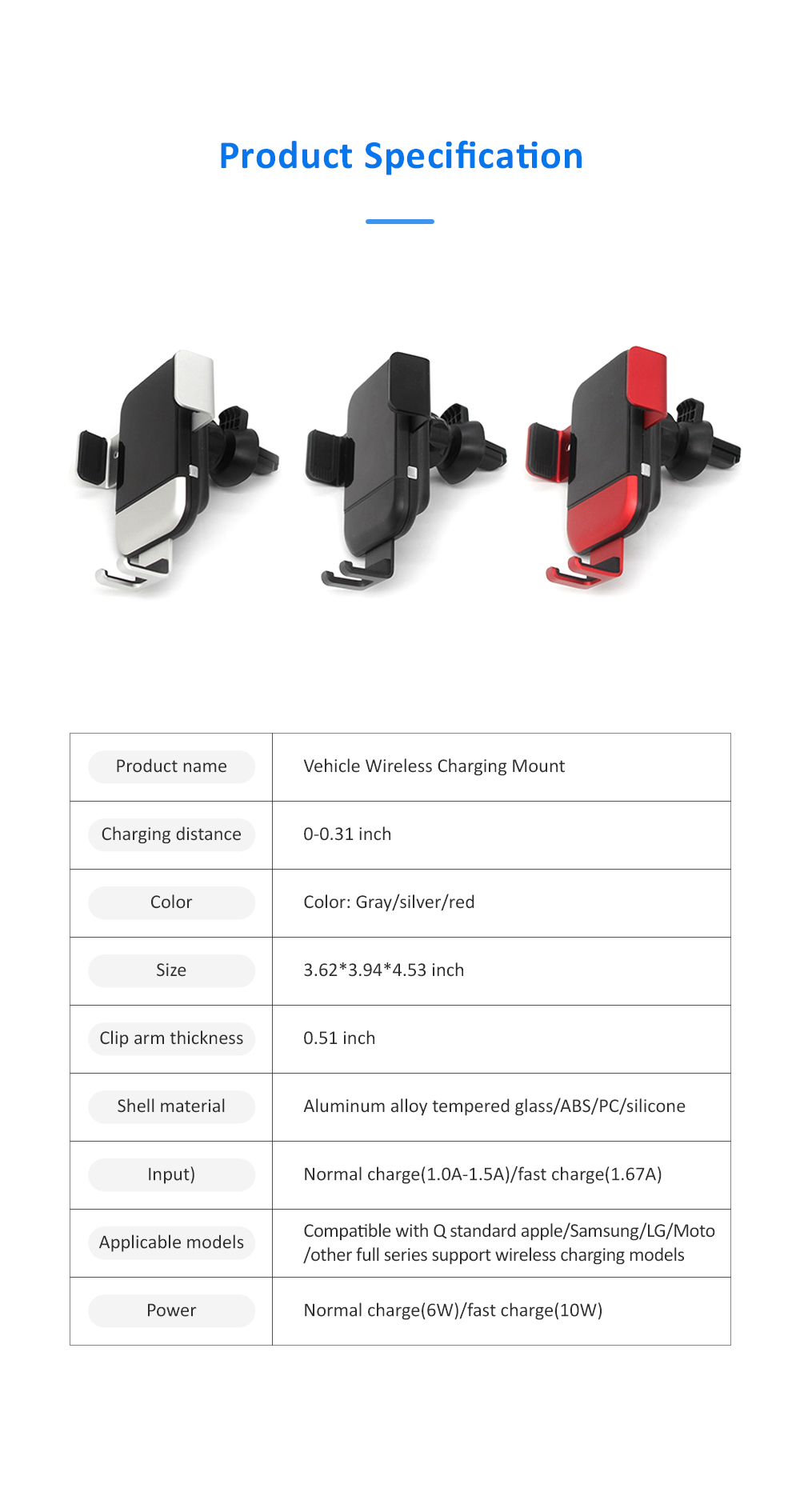 Auto-Clamping Car Air Vent Support Dashboard Car Phone Holder Gravity Sensor Car Phone Mount with 360°Rotated 9