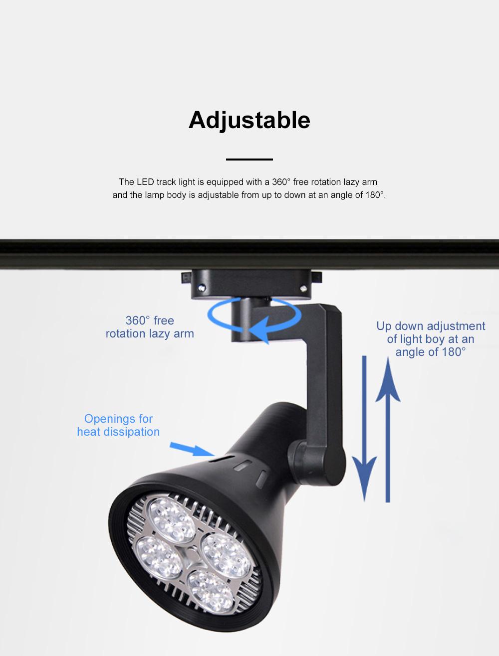 PAR30 Ultra-bright LED Track Lighting for Clothing Store Art Gallery Warm Light LED Track Lamp Free Rotation Lazy Arm Tracking Spotlight 2