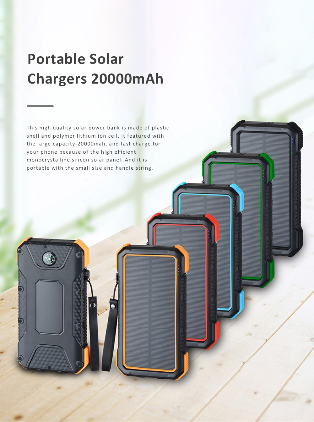 Solar Power Bank Chargers 20000mAh Portable Solar Power Bank Phone Charger with Two Type-C Port and Handle String 0