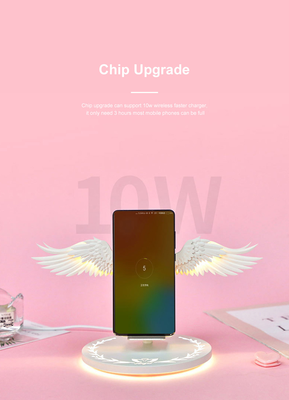 10w Wireless Charger Angel Wings Night Light Mobile Phone Wireless Charger for Android Apple USB Fast Charge Night Light 2