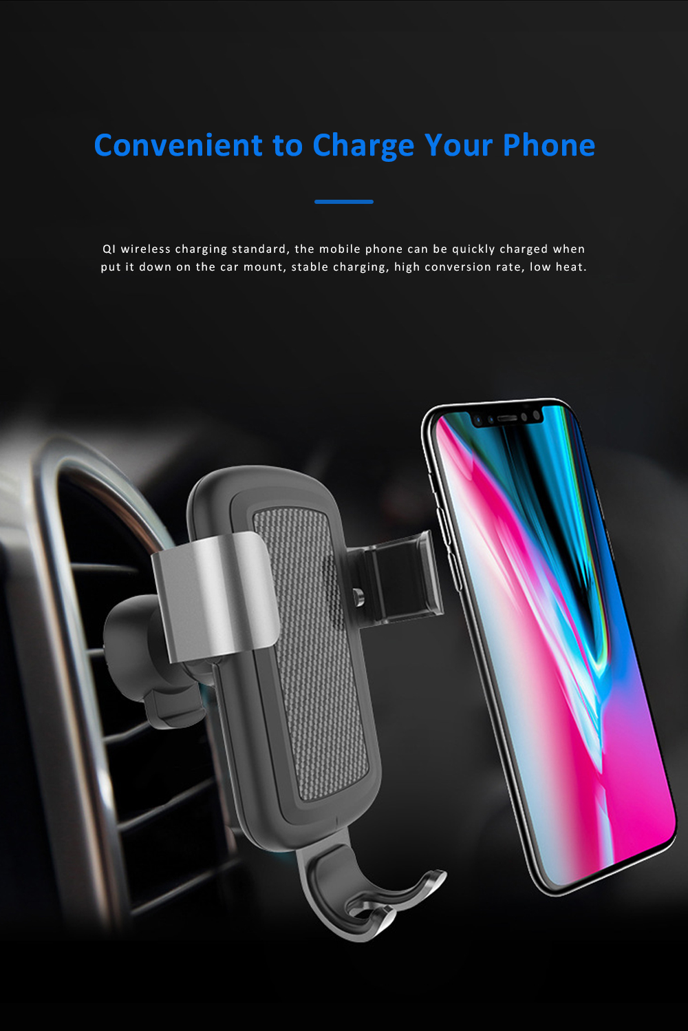 Car Phone Mount for iPhoneX iPhone 8plus Anti-Slip 360°Rotation Air Vent Car Phone Holder with Gravity Sensor 1