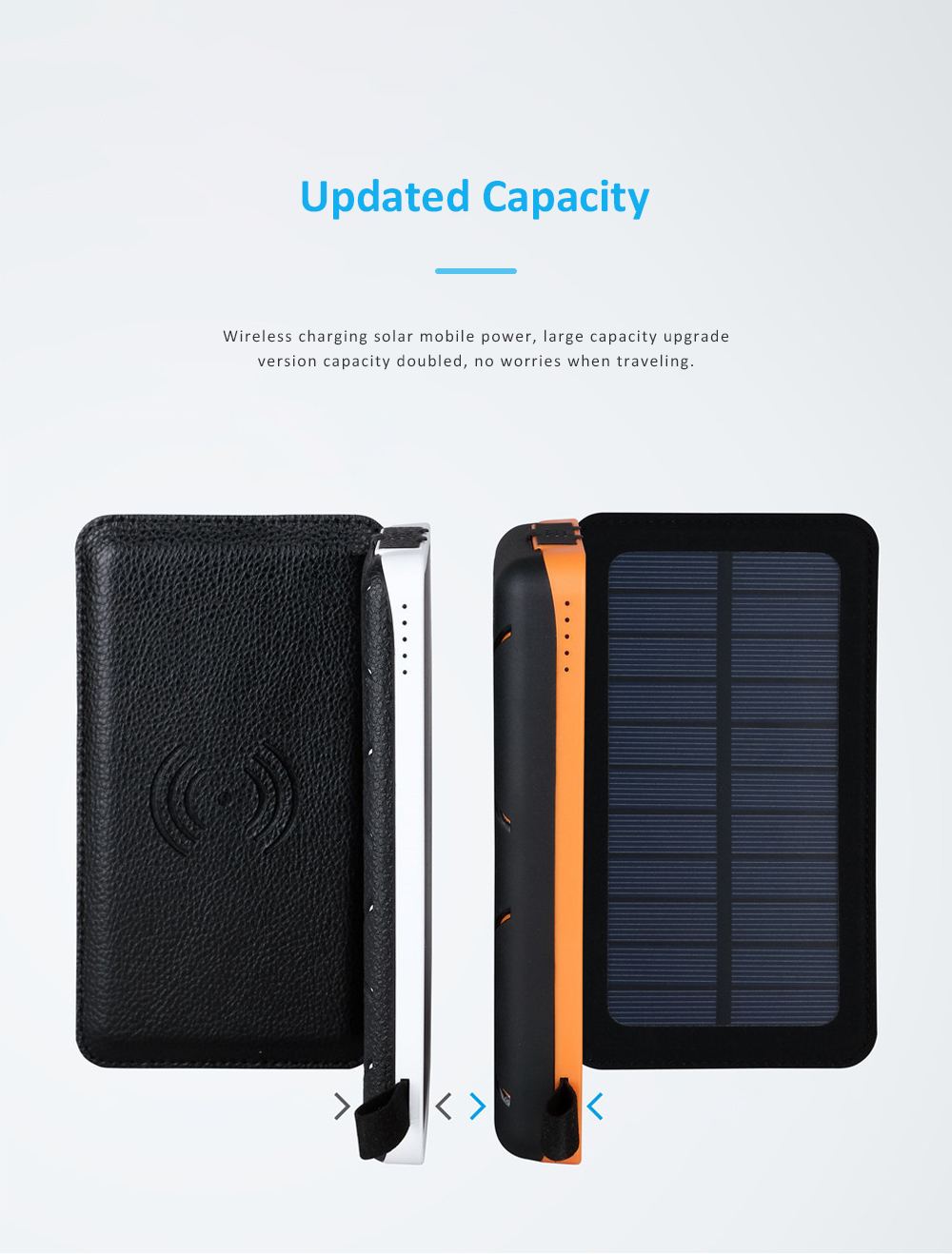 Wireless Charging Solar Charger Foldable Double USB Port Solar Power Bank with Flashlight and Compatible with Many Electronic Devices 2