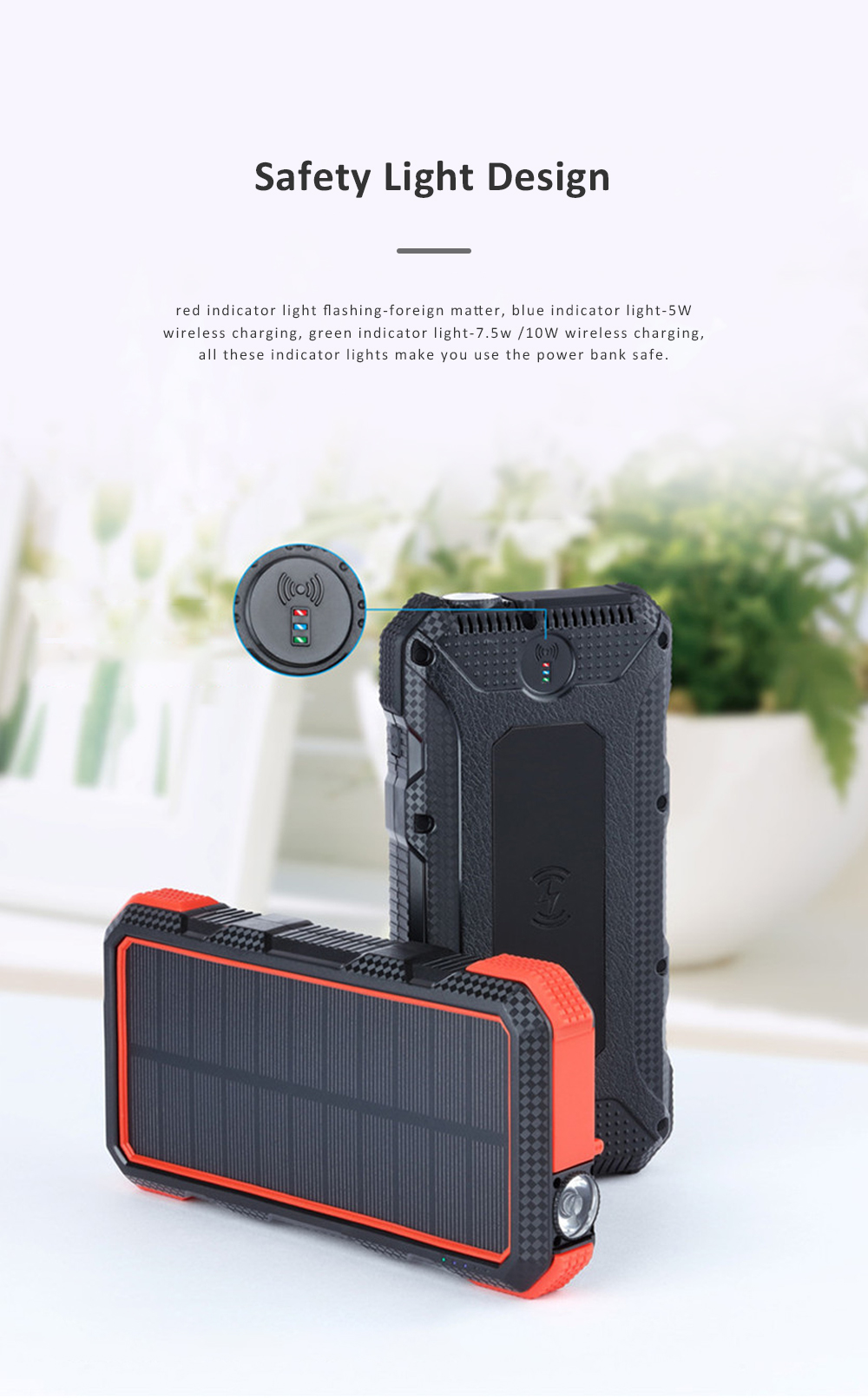 24000mAh Portable Solar Charger Two-way Type-C Power Bank with Flashlight and Metal Hook for Mobile Phone iPad MP3 MP4 2