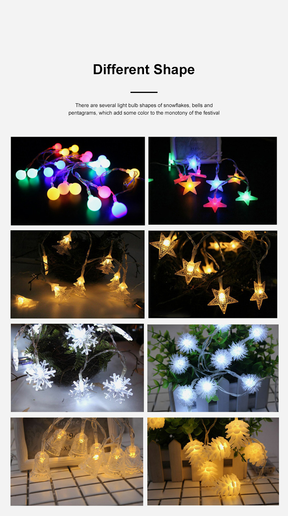 Led Snowflake Bell Christmas Lights Wedding Holiday Home Ceiling Window Door Tree Decoration Led Lights String 5
