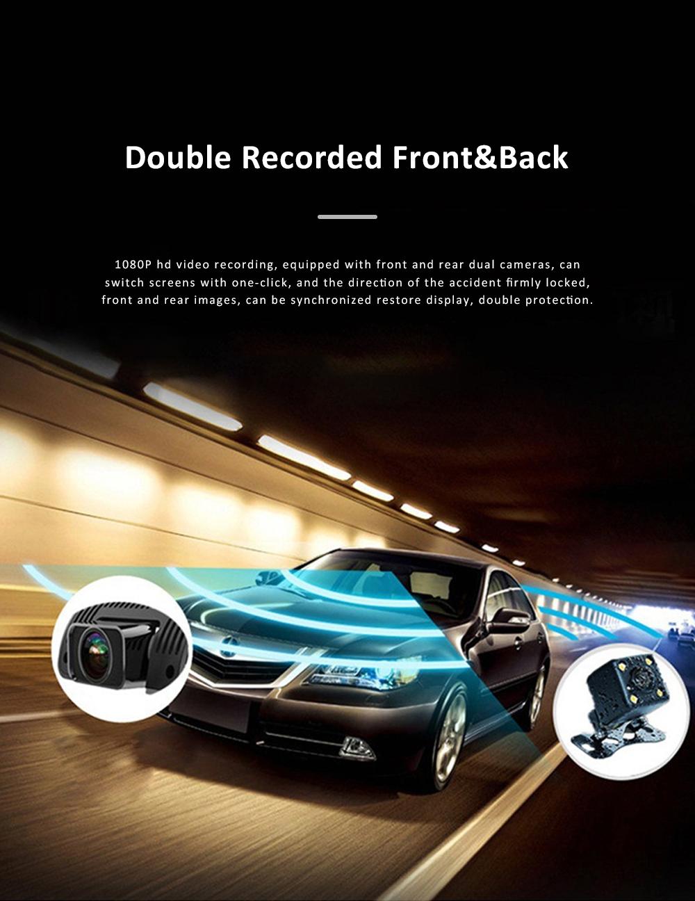 Wide Angle Car Dash Cam Full HD 1080P Dash Camera with G-Sensor Parking Monitor 24H Loop Recording Dual Dash Camera Front and Rear 7