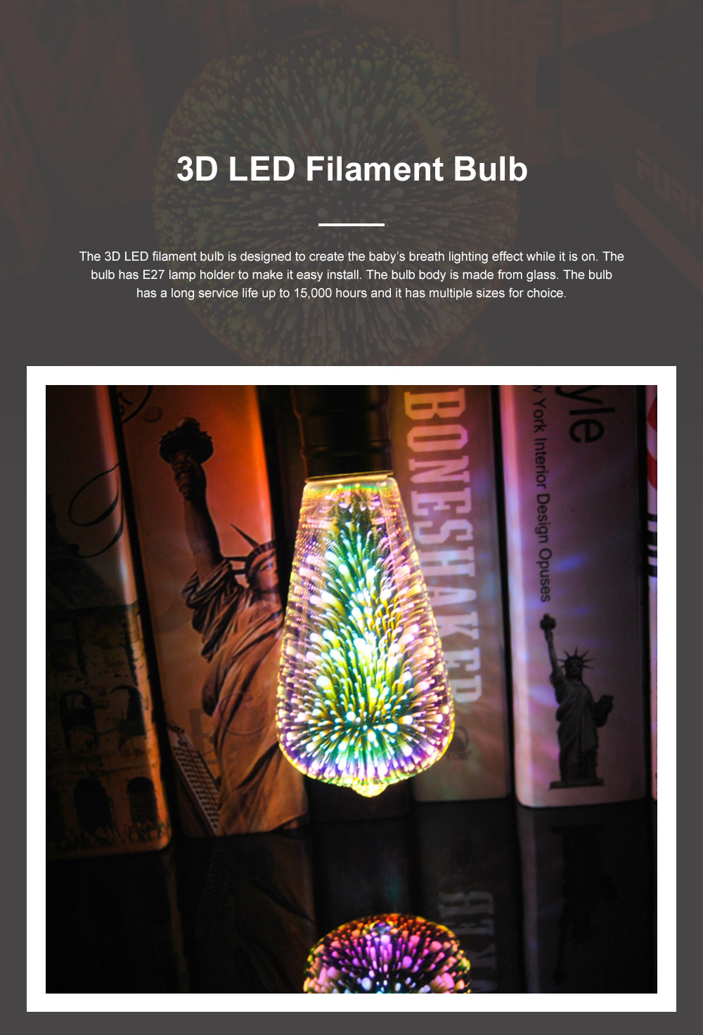 A60 ST64 G80 G95 G125 Three-dimensional LED Filament Bulb for Special Lighting Effects E27 Lamp Holder Bulb Glass Baby's Breath Effect Bulb 0