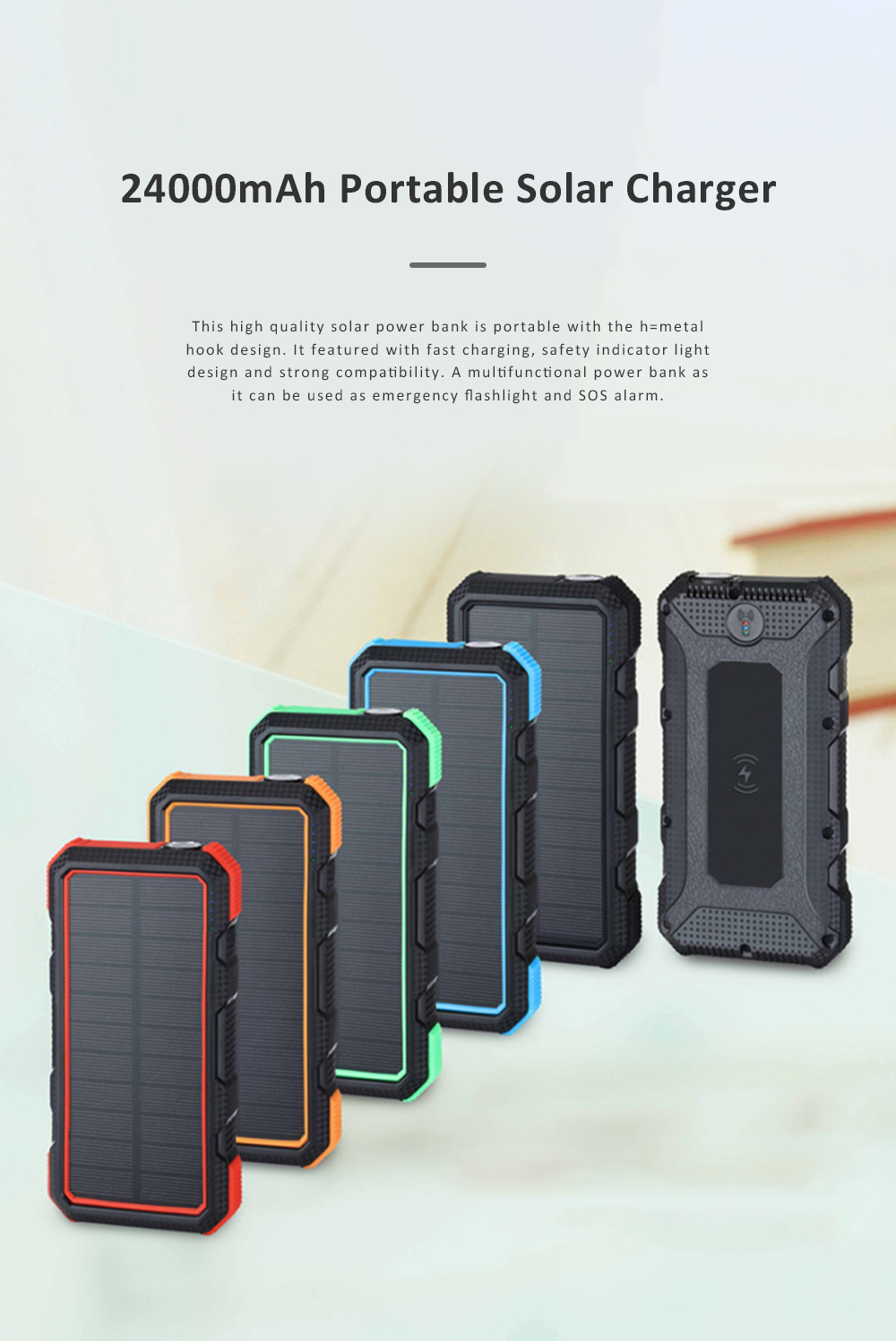 24000mAh Portable Solar Charger Two-way Type-C Power Bank with Flashlight and Metal Hook for Mobile Phone iPad MP3 MP4 0