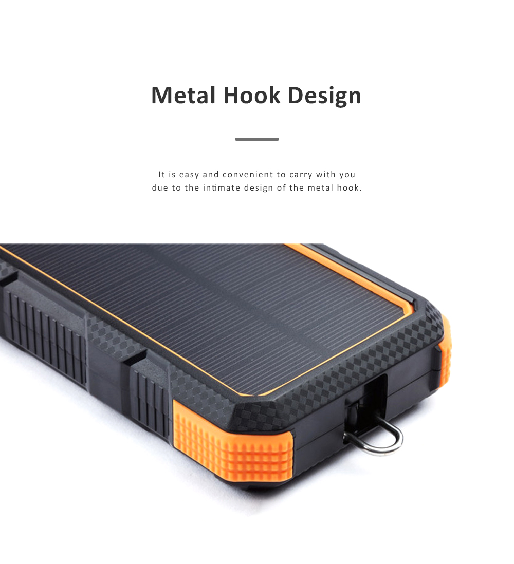 24000mAh Portable Solar Charger Two-way Type-C Power Bank with Flashlight and Metal Hook for Mobile Phone iPad MP3 MP4 4