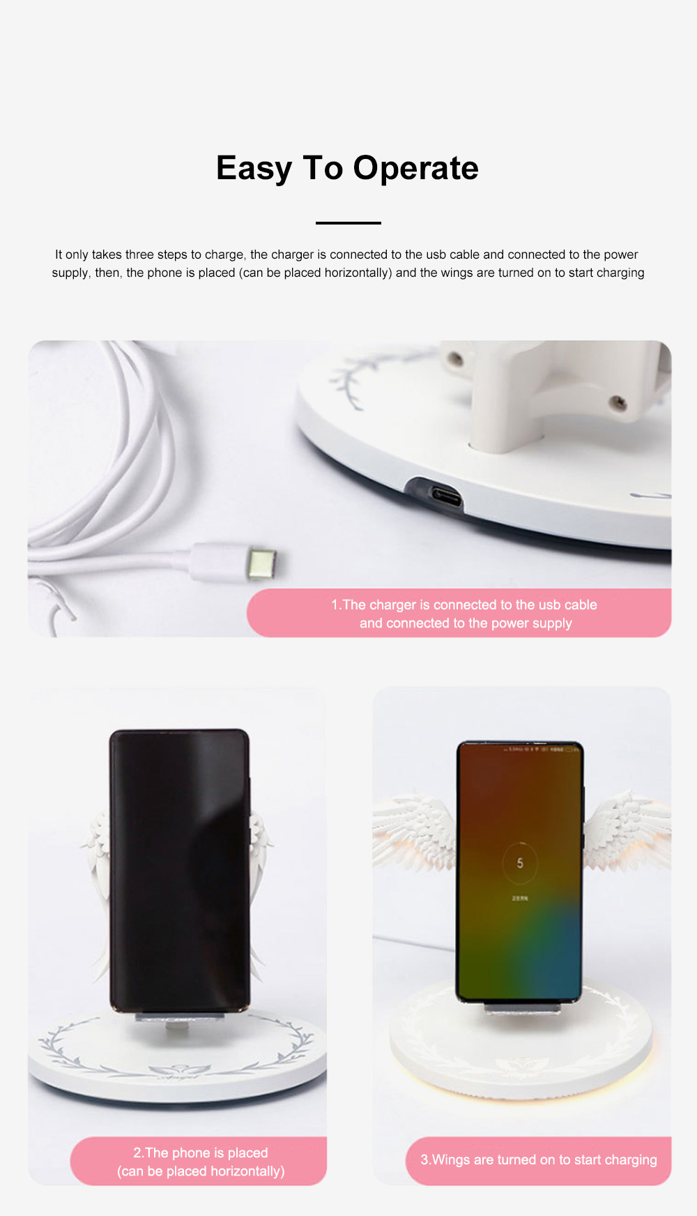 10w Wireless Charger Angel Wings Night Light Mobile Phone Wireless Charger for Android Apple USB Fast Charge Night Light 5