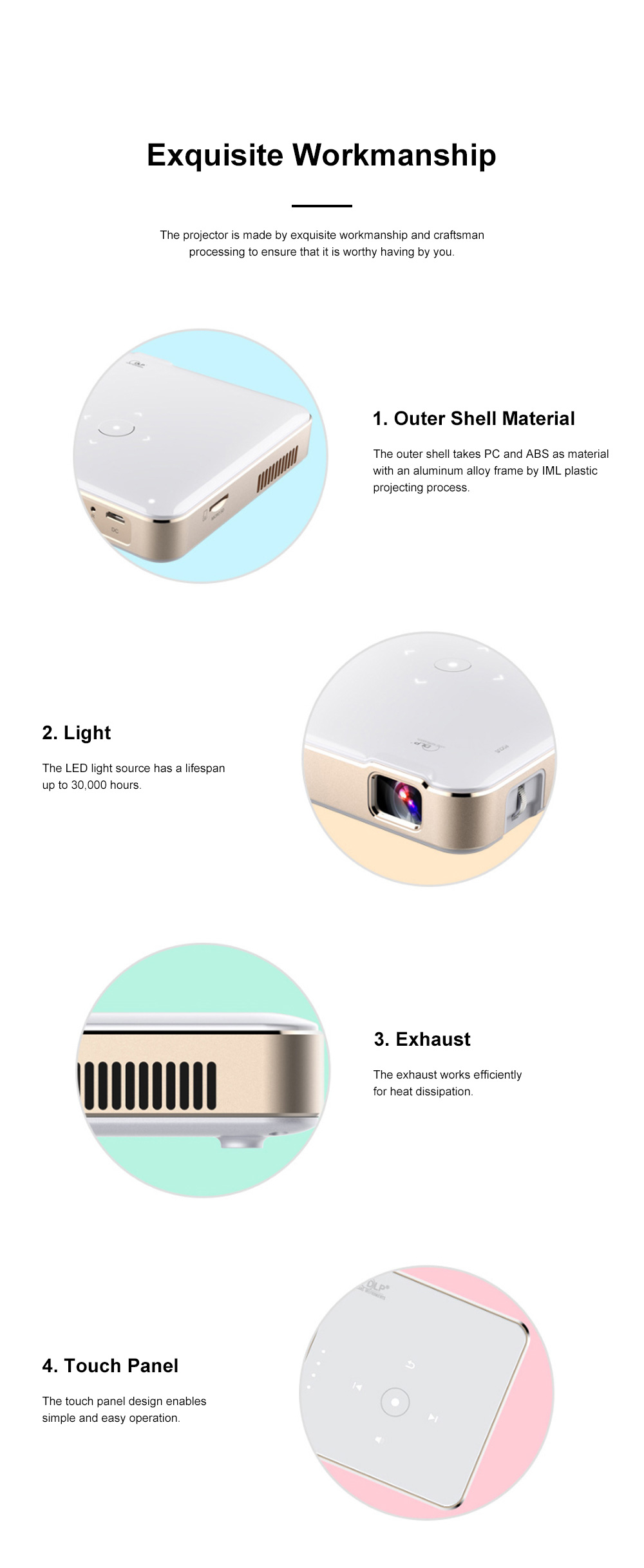 P65 Portable Mini Projector for Family Office Use High-resolution Projection Machine WIFI Wireless Mirroring Display 5