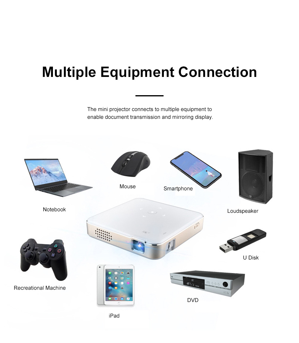 P65 Portable Mini Projector for Family Office Use High-resolution Projection Machine WIFI Wireless Mirroring Display 1