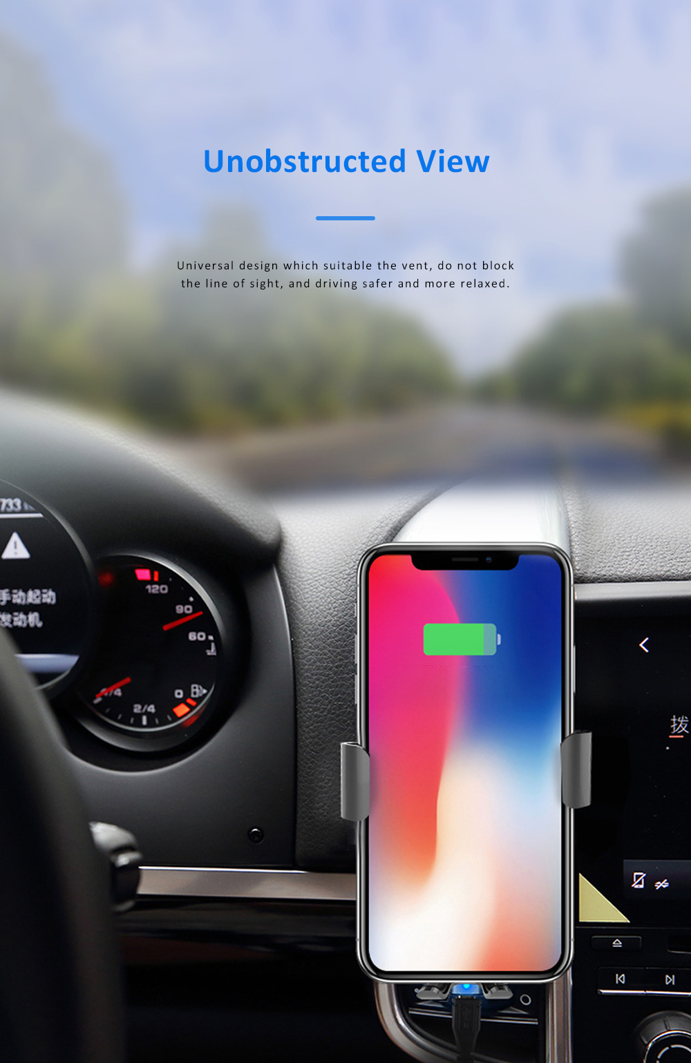 Car Phone Mount for iPhoneX iPhone 8plus Anti-Slip 360°Rotation Air Vent Car Phone Holder with Gravity Sensor 3