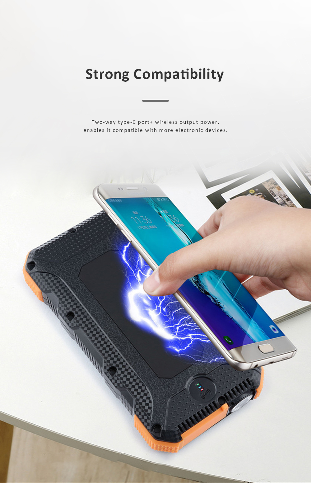 24000mAh Portable Solar Charger Two-way Type-C Power Bank with Flashlight and Metal Hook for Mobile Phone iPad MP3 MP4 5