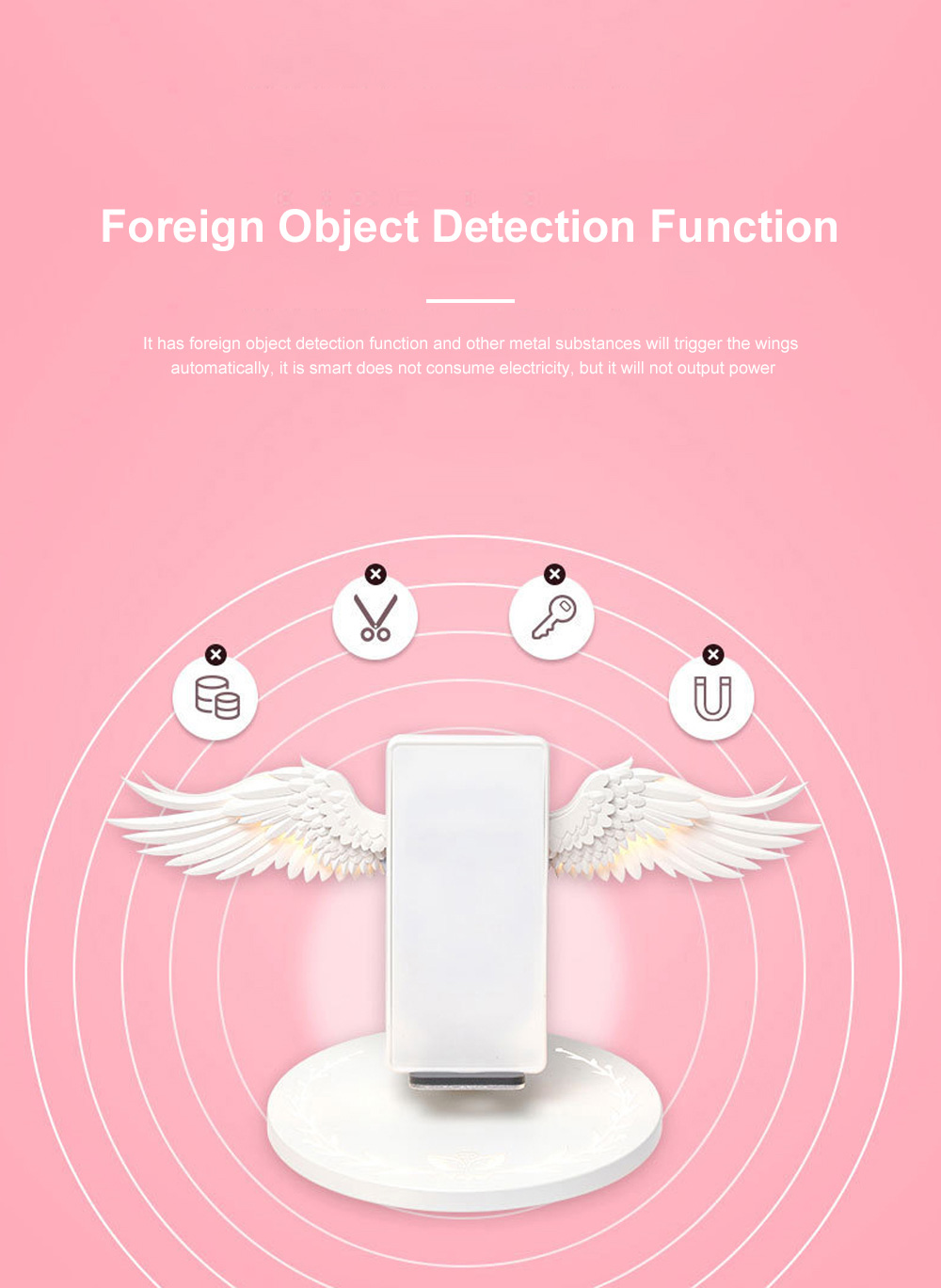 10w Wireless Charger Angel Wings Night Light Mobile Phone Wireless Charger for Android Apple USB Fast Charge Night Light 4