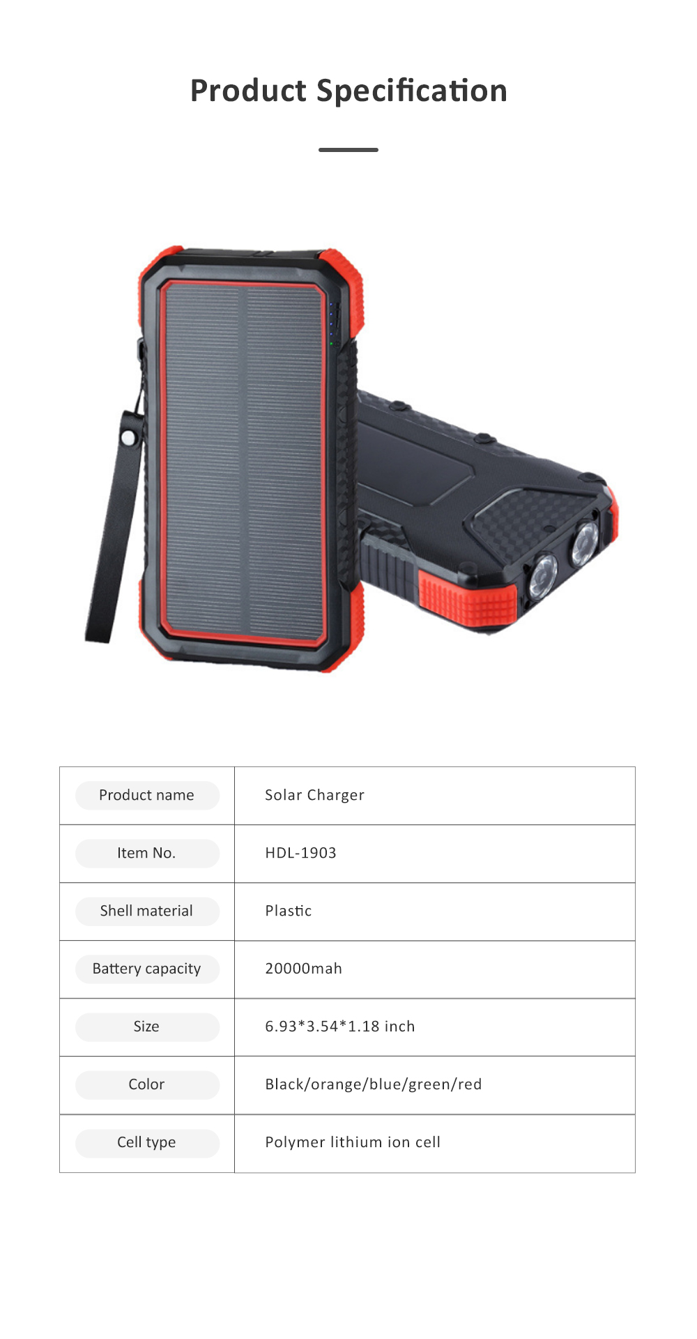 Solar Power Bank Chargers 20000mAh Portable Solar Power Bank Phone Charger with Two Type-C Port and Handle String 6