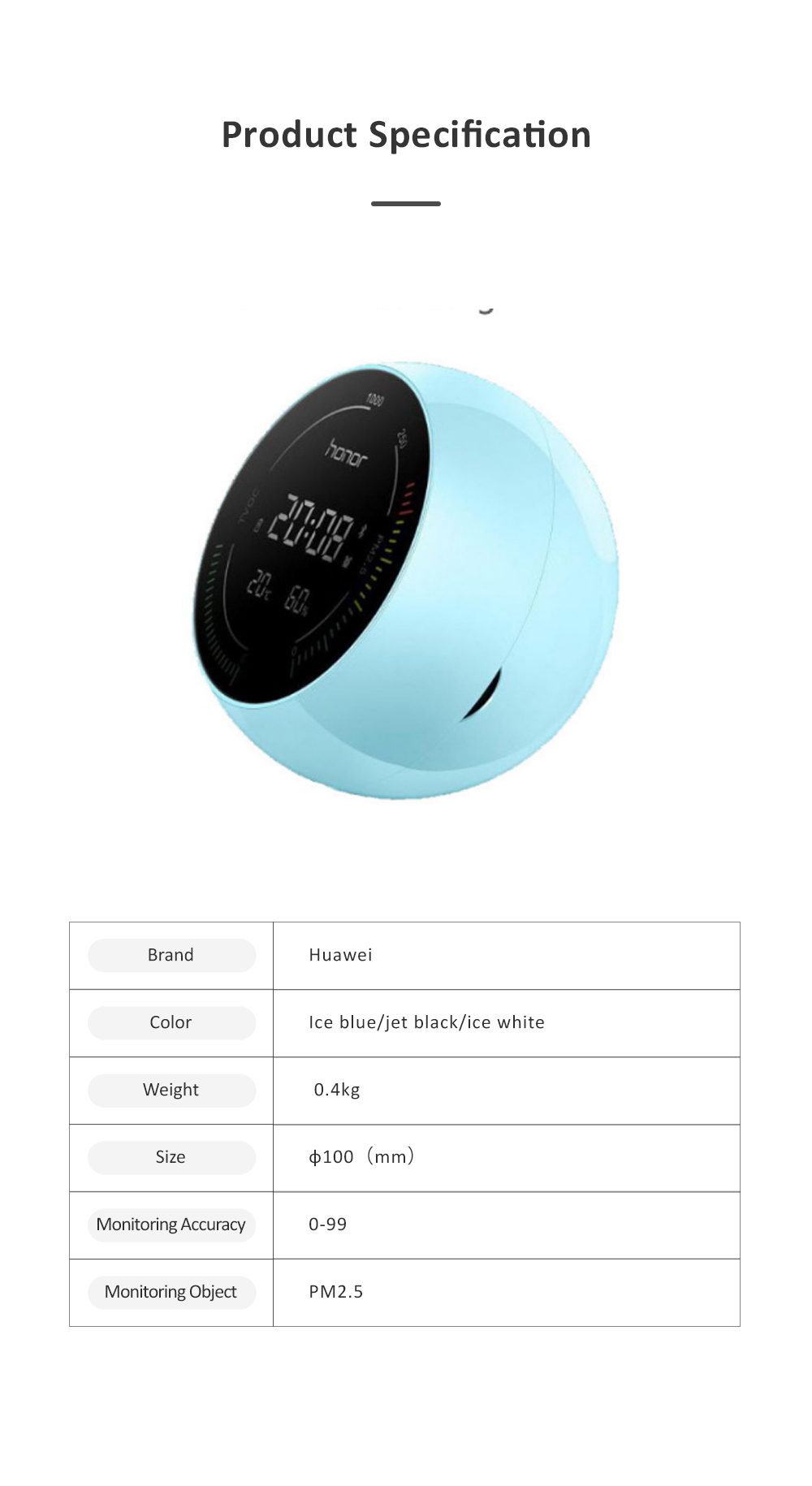 Huawei HONOR TVOC Air Quality Monitor Temperature Humidity PM2.5 Detector for Indoor Real Time Air Pollution Detection 8