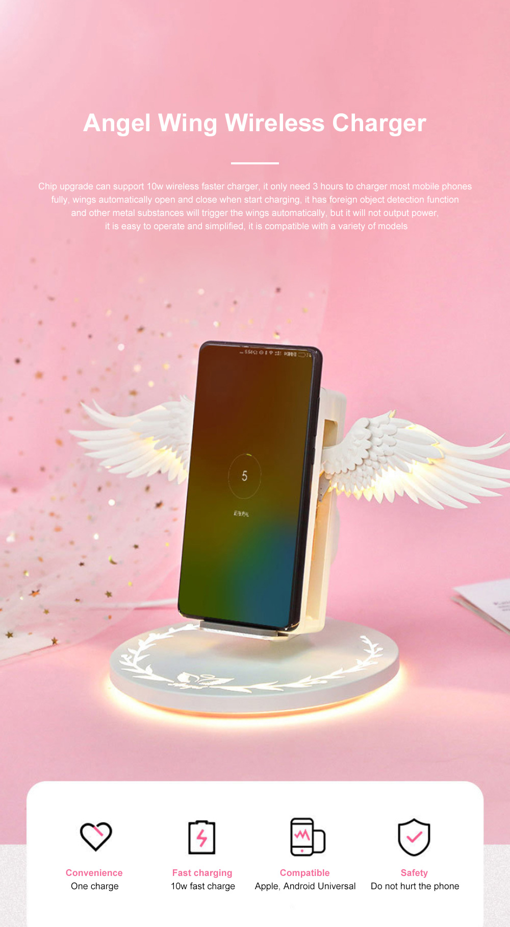 10w Wireless Charger Angel Wings Night Light Mobile Phone Wireless Charger for Android Apple USB Fast Charge Night Light 0