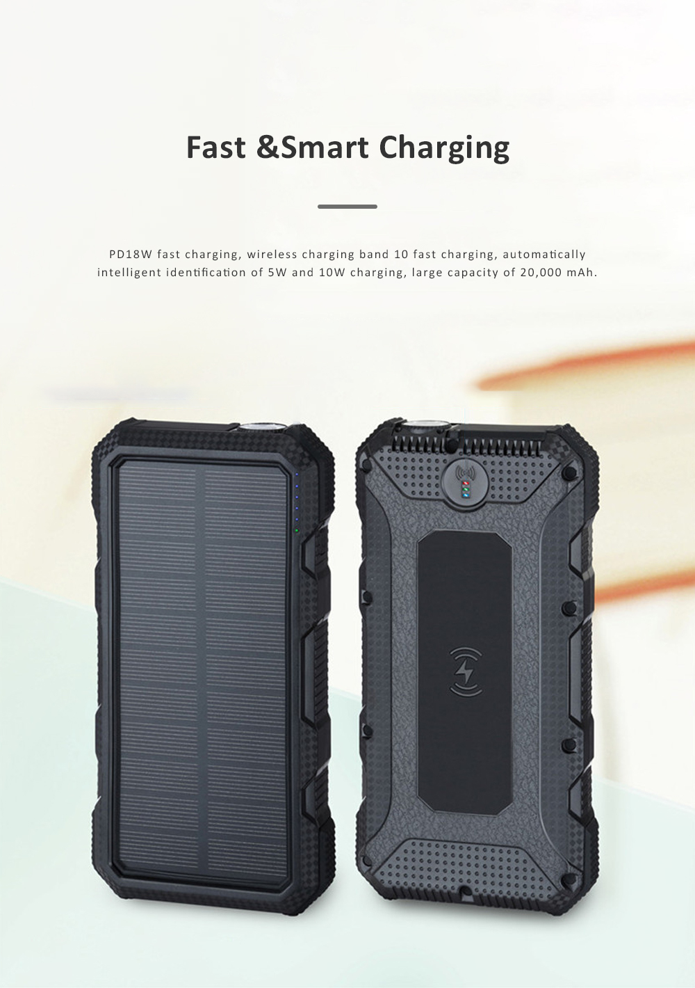 24000mAh Portable Solar Charger Two-way Type-C Power Bank with Flashlight and Metal Hook for Mobile Phone iPad MP3 MP4 1