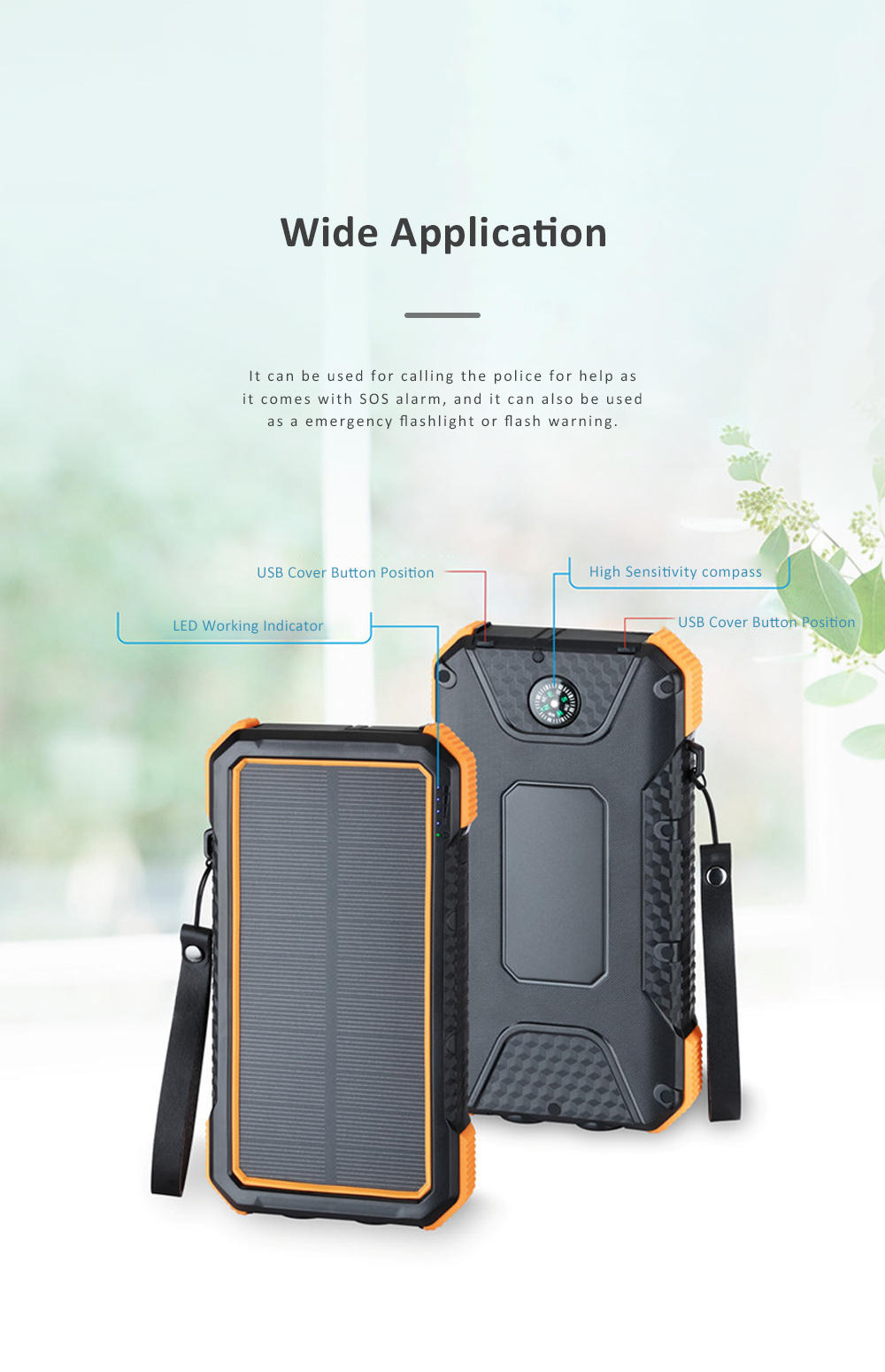 Solar Power Bank Chargers 20000mAh Portable Solar Power Bank Phone Charger with Two Type-C Port and Handle String 5