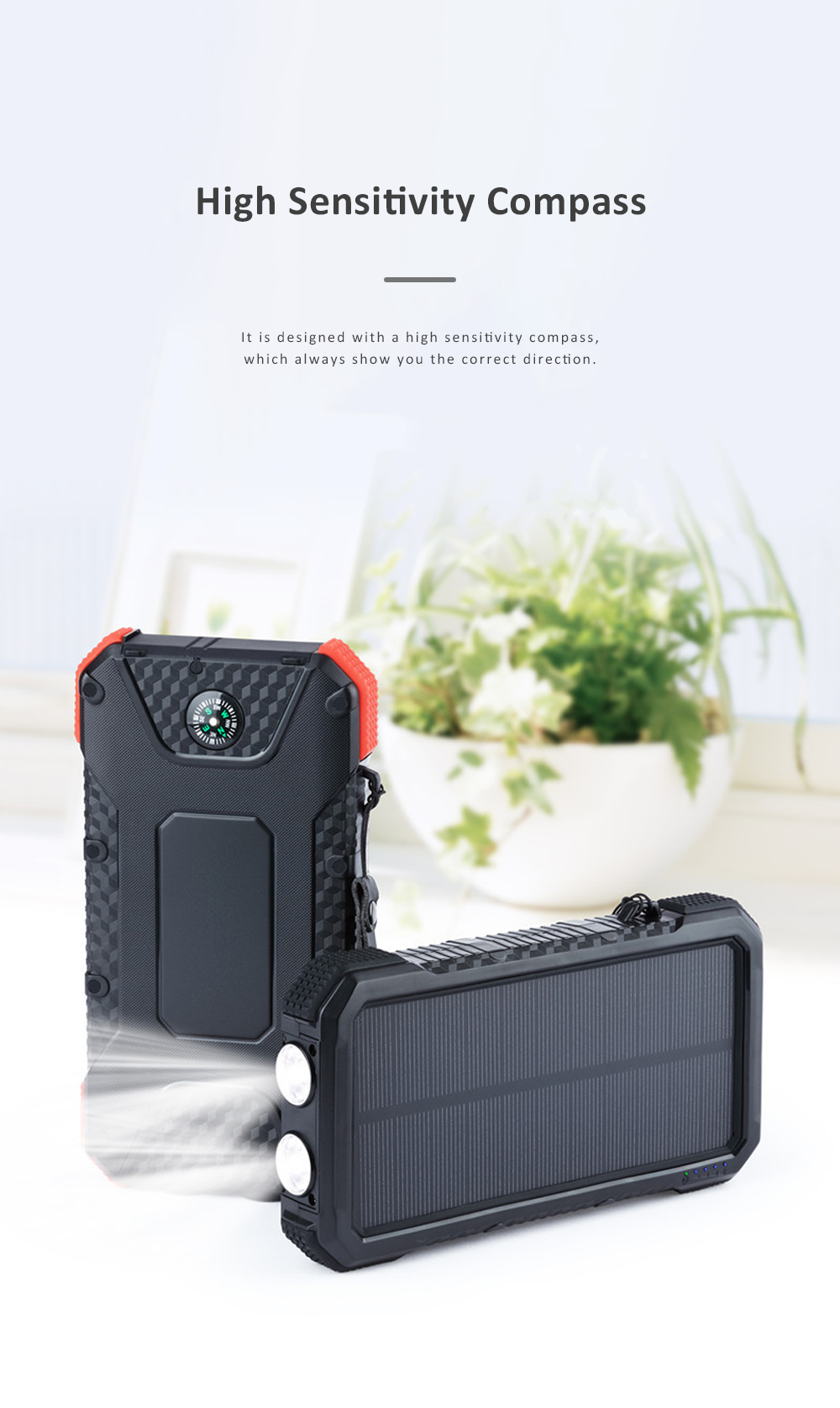 Solar Power Bank Chargers 20000mAh Portable Solar Power Bank Phone Charger with Two Type-C Port and Handle String 4