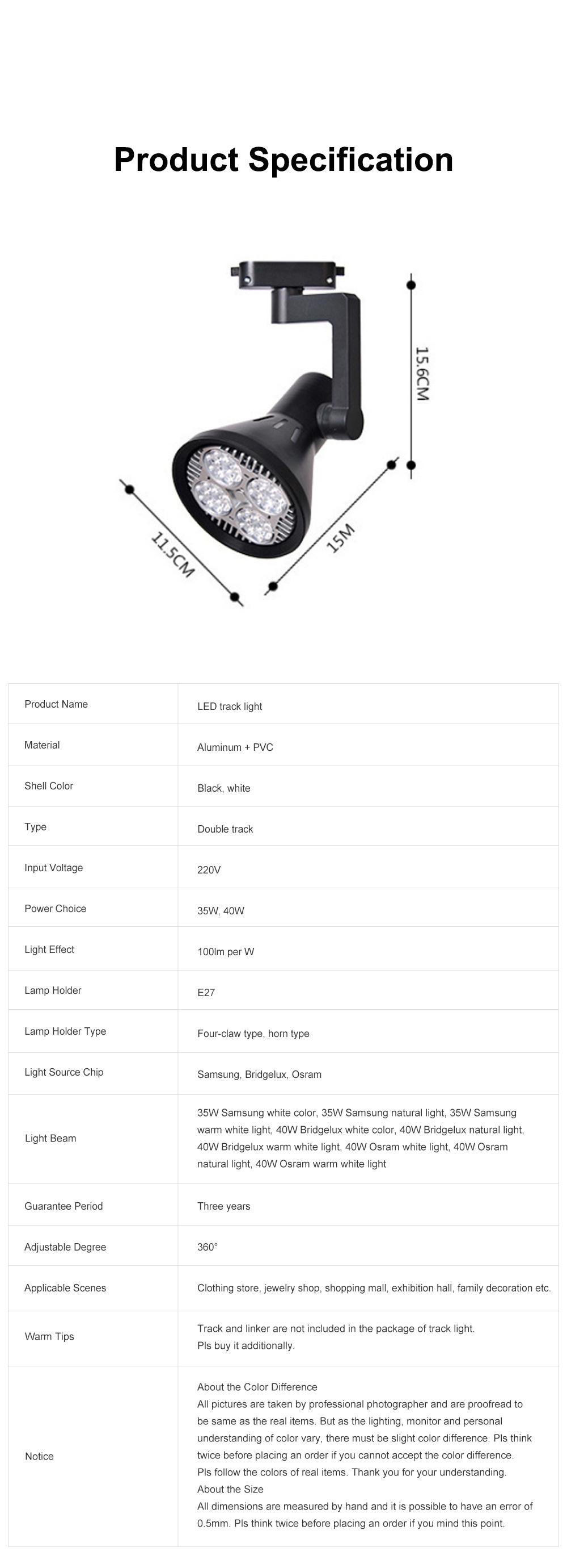 PAR30 Ultra-bright LED Track Lighting for Clothing Store Art Gallery Warm Light LED Track Lamp Free Rotation Lazy Arm Tracking Spotlight 8