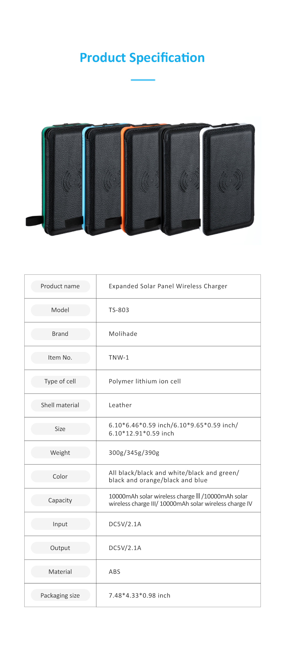 Wireless Charging Solar Charger Foldable Double USB Port Solar Power Bank with Flashlight and Compatible with Many Electronic Devices 6